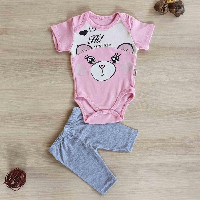 Compleu body bebelusi maneca scurta si pantaloni 3 sferturi ursulet roz bumbac 0-12 luni [0]