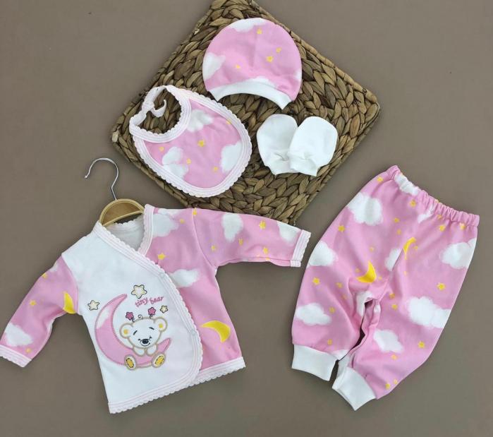 Set nou nascuti 5 piese bluzita, pantaloni, manusi, caciulita si bavetica bumbac roz 0