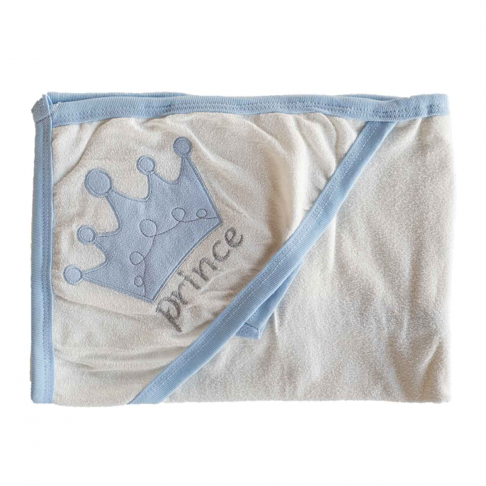 Prosop de baie alb cu bleu prince bumbac [0]