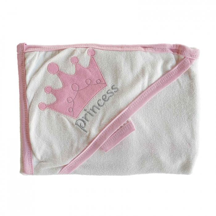 Prosop de baie alb cu roz princess bumbac 0