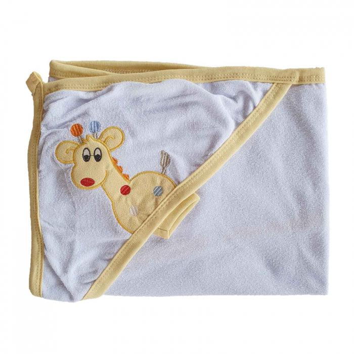 Prosop de baie bebelusi alb cu bej girafa bumbac 0
