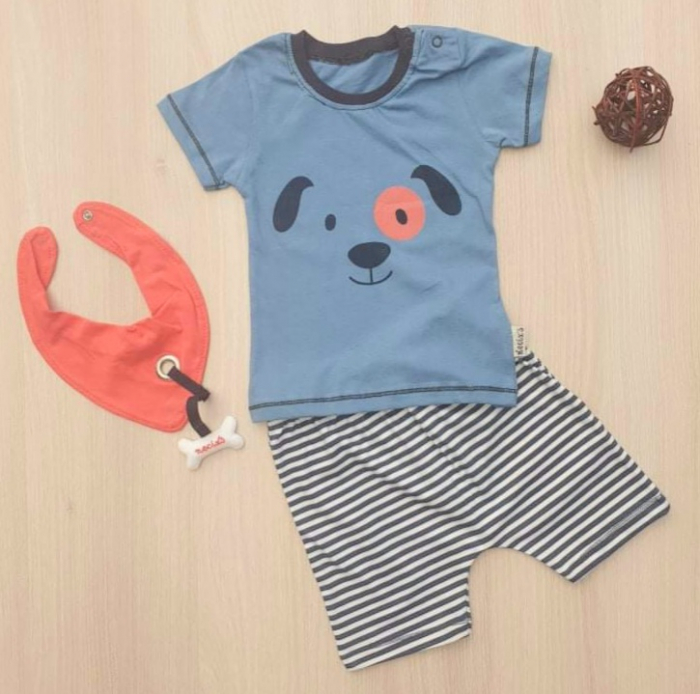 Set bebelusi tricou, pantaloni scurti si bevetica catelus bumbac 3-12 luni [0]
