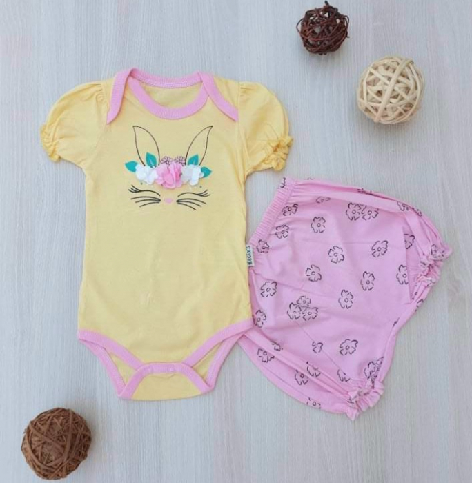 Compleu bebelusi galben cu roz iepuras bumbac 0-9 luni [0]