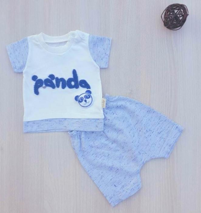 Compleu bebelusi tricou si pantaloni scurti panda alb cu bleu bumbac 0-9 luni [0]