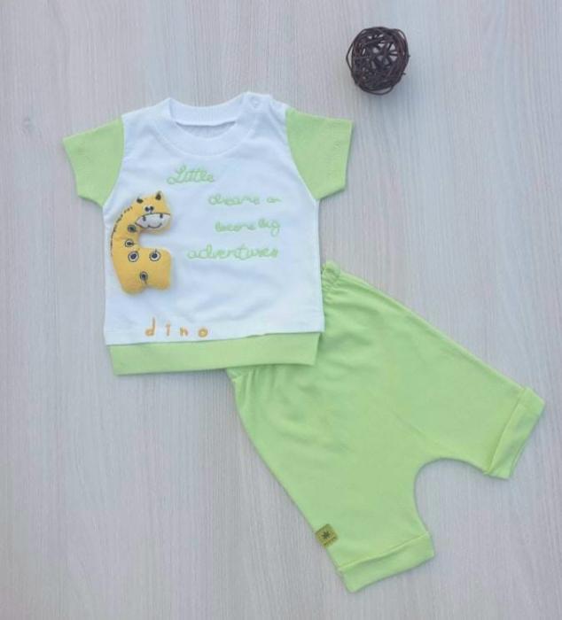 Compleu bebelusi tricou si pantaloni scurti dino verde bumbac 0-9 luni [0]