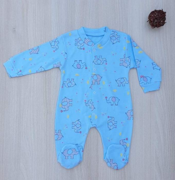 Salopeta nou nascuti albastra cu elefantei bumbac [0]