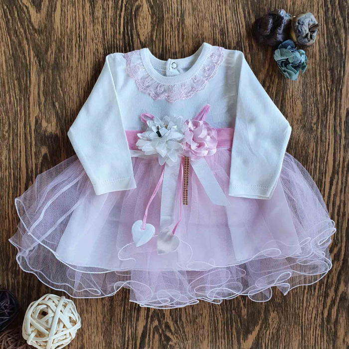 Rochita bebe cu maneca lunga si tiul roz cu fundita floare 3D si jupa bumbac 3-12 luni 0