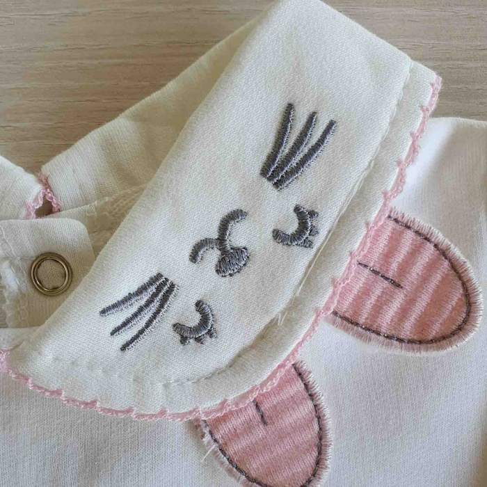 Rochita bebelusi cu maneca lunga bufanta si fustita roz raiata bumbac 9-24 luni [1]