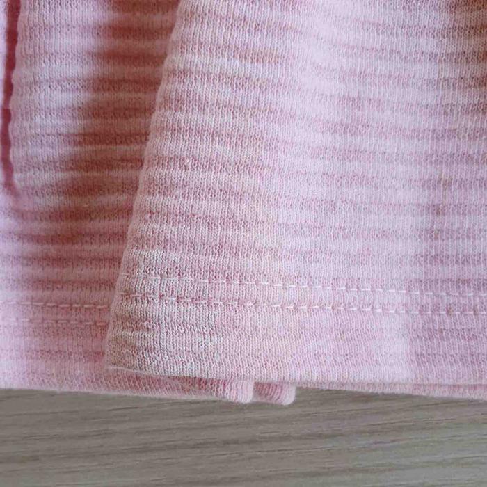 Rochita bebelusi cu maneca lunga bufanta si fustita roz raiata bumbac 9-24 luni [2]