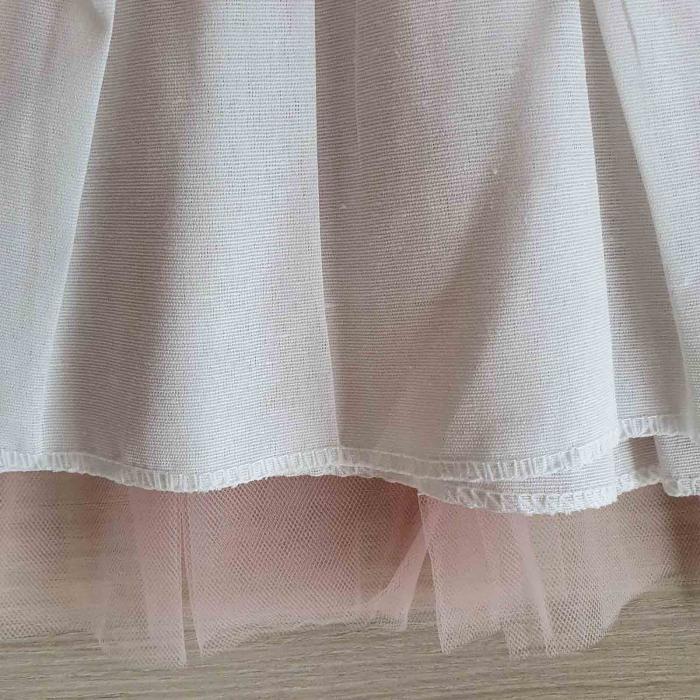 Rochita bebelusi maneca scurta si tiul roz cu cordon de flori 6-18 luni [2]