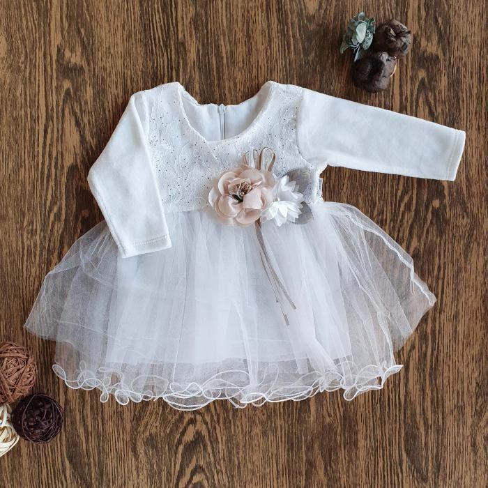 Rochita cu maneca lunga si tiul printesa alb cu jupa din bumbac si flori 1-3 ani 0