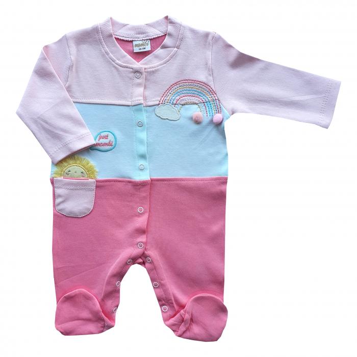 Salopeta bebe in trei culori și curcubeu brodat roz 0