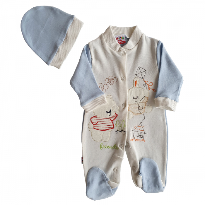 Salopeta bebe alb cu bleu cu caciulita ursuleti bumbac 0