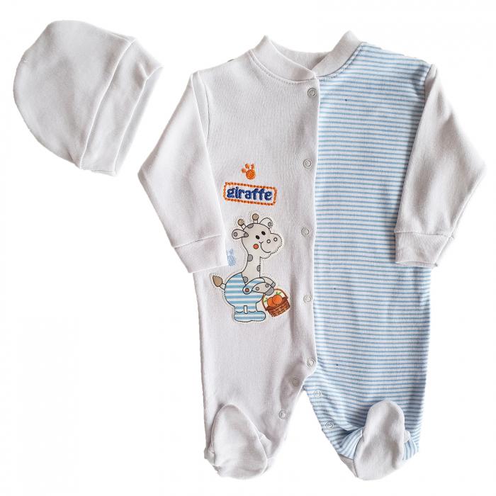 Salopeta bebe alb cu bleu girafa bumbac 3-6 luni 0