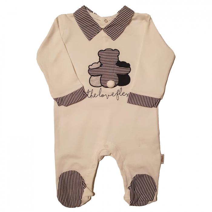 Salopeta bebe alba cu ursulet negru 0