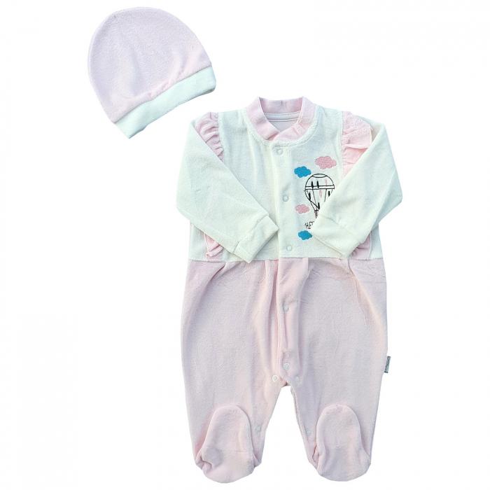 Salopeta bebe fetițe roz pal cu balon cu aer cald 0