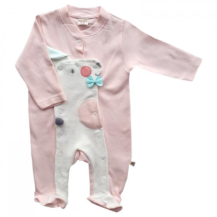 Salopeta bebe fetita roz cu iepuras cu fundita 0