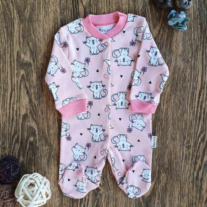 Salopeta nou nascut pisicute bumbac roz 0