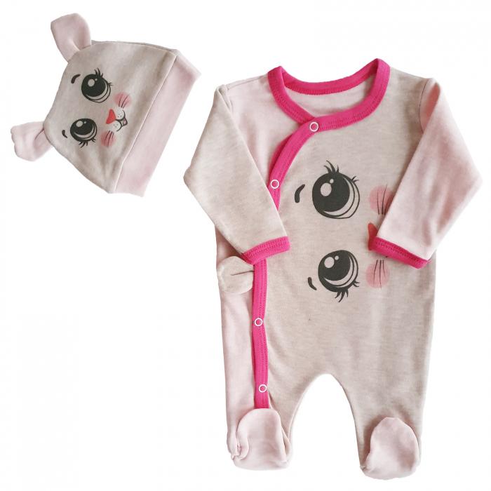 Salopeta bebe pisicuta roz bumbac 0-3 luni 0