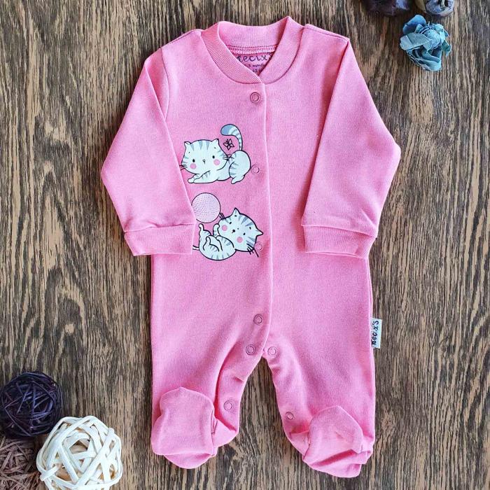 Salopeta nou nascut pisicute jucause bumbac roz 0
