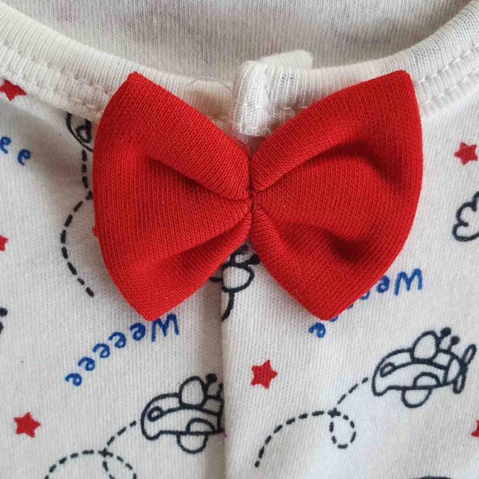 Salopeta bebelusi eleganta papion si bretele bumbac 0-9 luni [2]