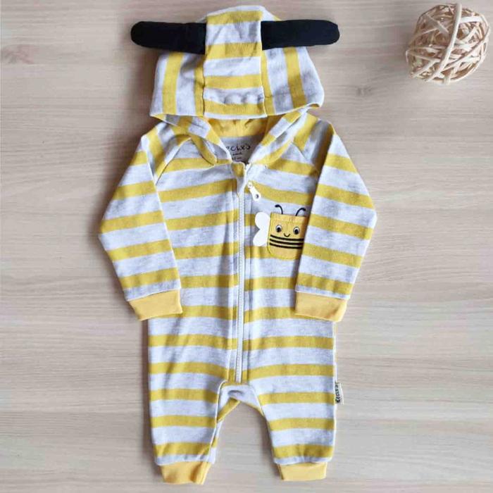 Salopeta bebelusi maneca lunga cu gluga albina galben cu gri bumbac 0-9 luni [0]