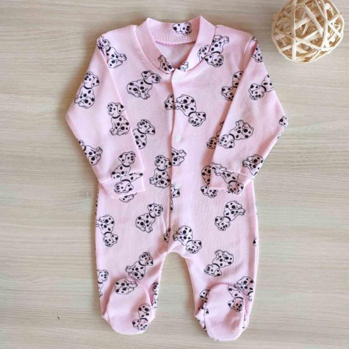 Salopeta bebelusi maneca lunga dalmatieni roz bumbac 0-3 luni [0]