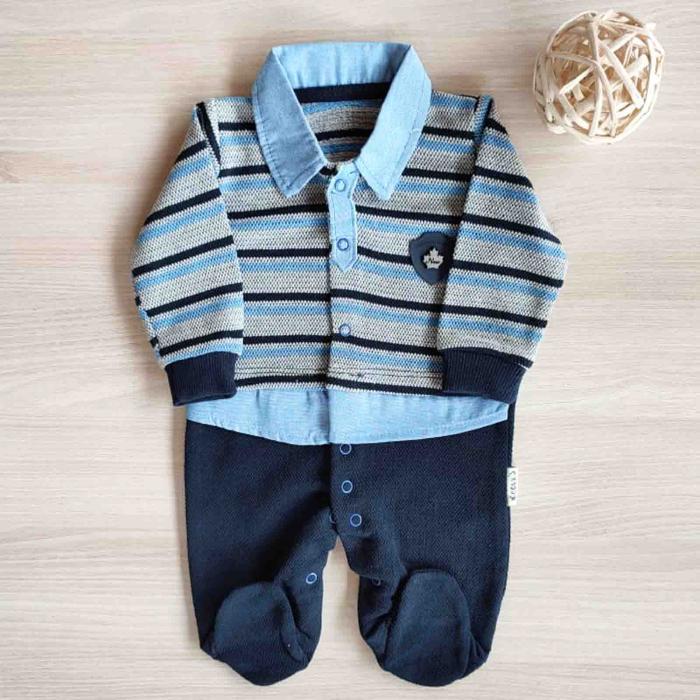 Salopeta bebelusi maneca lunga eleganta bleumarin cu bleu  bumbac 0-9 luni [0]
