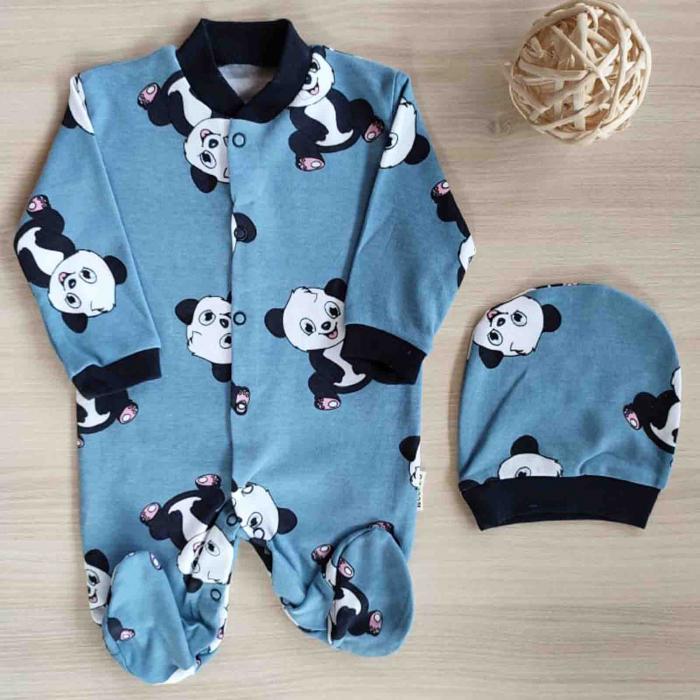 Salopeta bebelusi maneca lunga panda albastru bumbac 0-9 luni [0]