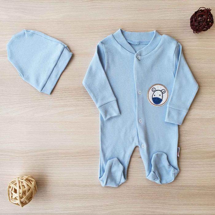 Salopeta bebelusi maneca lunga si caciuita magarus bleu bumbac 0-9 luni 0