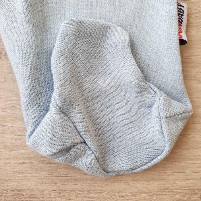 Salopeta bebelusi maneca lunga si caciuita magarus bleu bumbac 0-9 luni 2