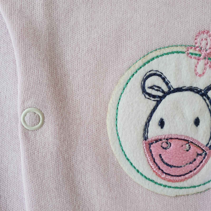 Salopeta bebelusi maneca lunga si caciuita magarus roz bumbac 0-9 luni 1