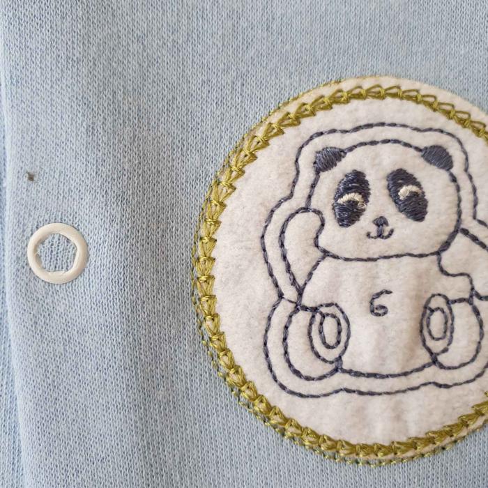 Salopeta bebelusi maneca lunga si caciuita ursulet panda bleu bumbac 0-9 luni 1