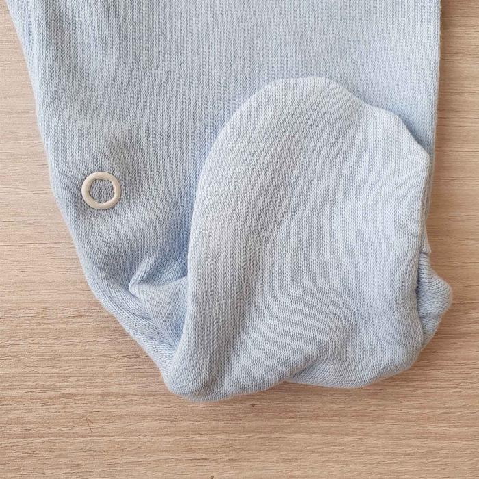 Salopeta bebelusi maneca lunga si caciuita ursulet panda bleu bumbac 0-9 luni 2