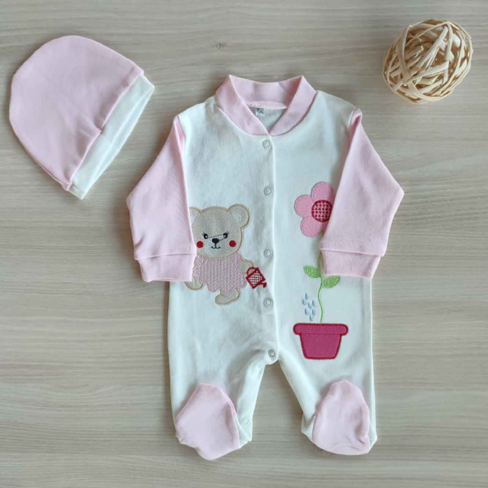 Salopeta bebelusi maneca lunga ursulet cu floare roz bumbac 0-3 luni [0]