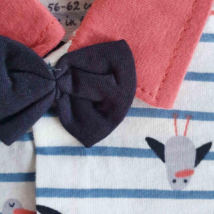 Salopeta bebelusi maneca scurta cu papion pasarele rosu bumbac 0-9 luni [1]