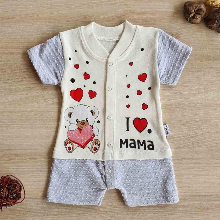 Salopeta bebelusi maneca scurta i love mama gri bumbac 0-9 luni [0]