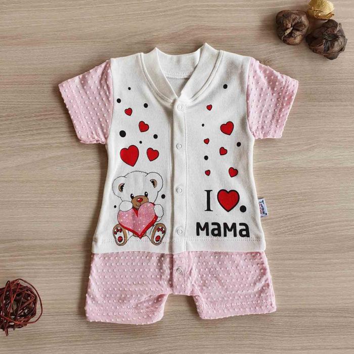 Salopeta bebelusi maneca scurta i love mama roz bumbac 0-9 luni [0]