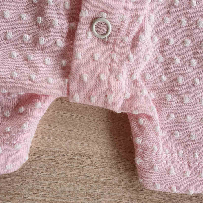 Salopeta bebelusi maneca scurta i love mama roz bumbac 0-9 luni [2]