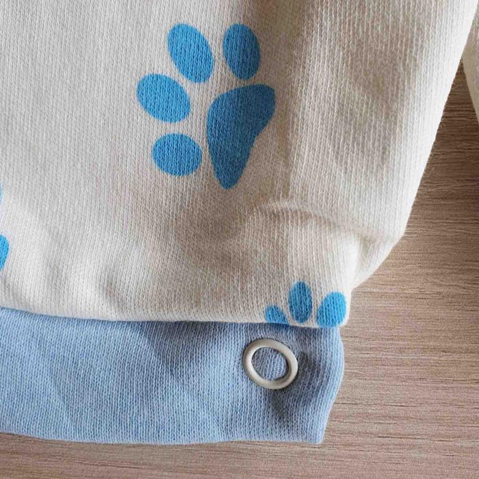 Salopeta bebelusi maneca scurta leu bleu bumbac 0-9 luni [2]