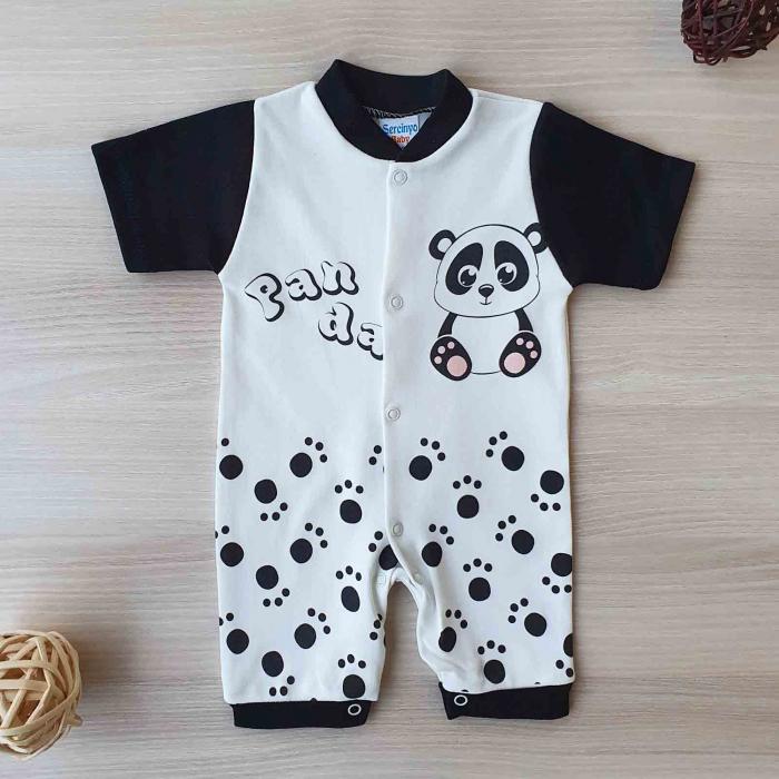 Salopeta maneca scurta si pantaloni scurti panda bumbac 0-9 luni [0]