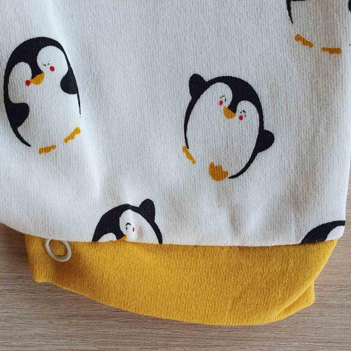Salopeta bebelusi maneca scurta pinguin bumbac 0-9 luni [2]