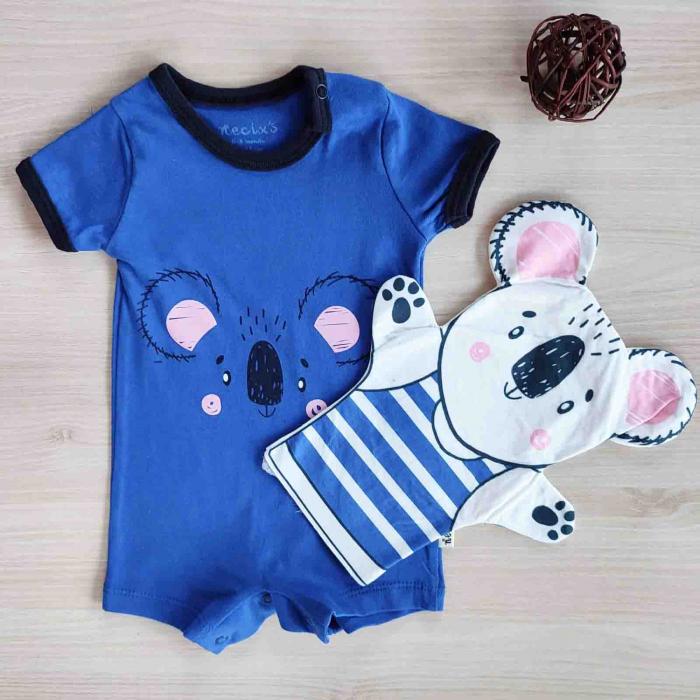 Salopeta bebelusi maneca scurta si manusa ursulet albastru bumbac 0-9 luni [0]