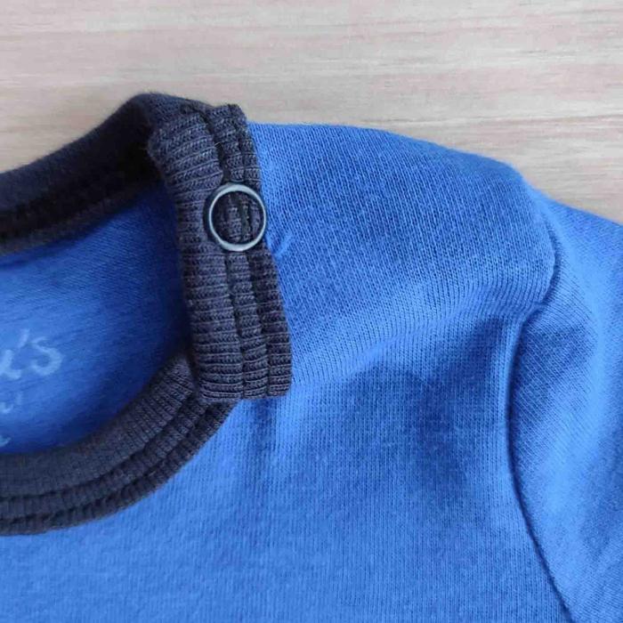 Salopeta bebelusi maneca scurta si manusa ursulet albastru bumbac 0-9 luni [1]