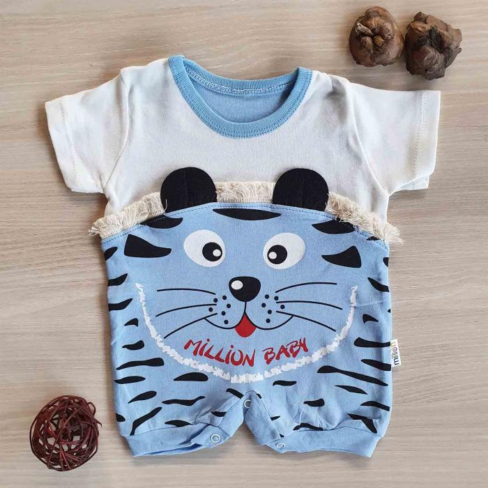 Salopeta bebelusi maneca scurta tigru bleu bumbac 0-9 luni [0]