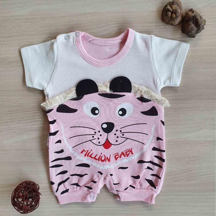 Salopeta bebelusi maneca scurta tigru roz bumbac 0-9 luni [0]