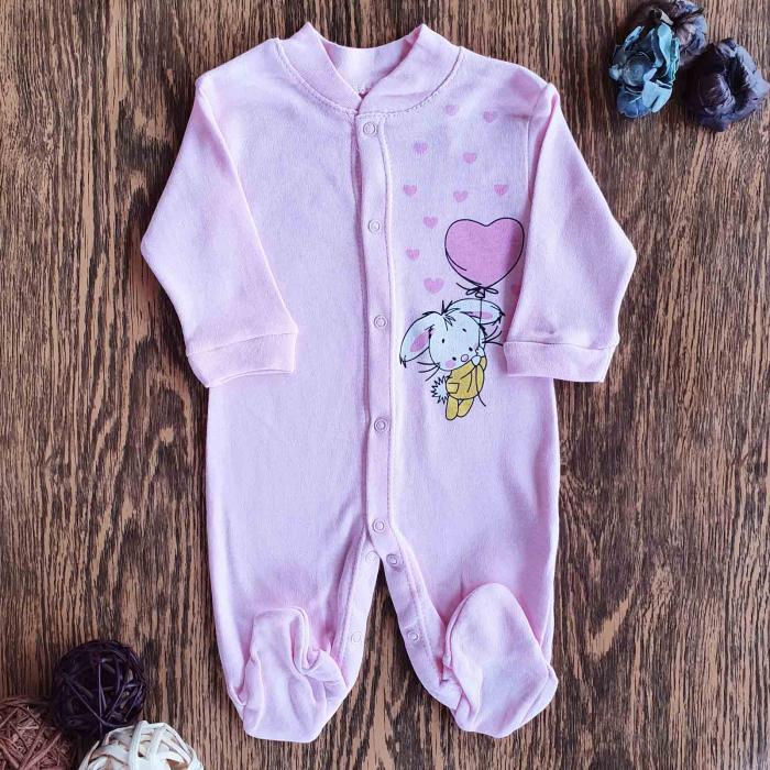 Salopeta bebelusi roz iepuras bumbac 0-6 luni 0