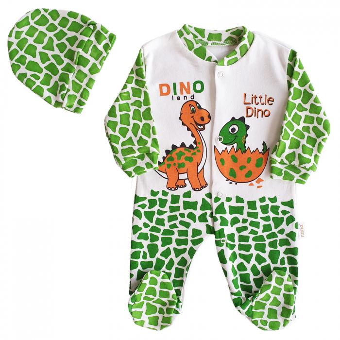Salopeta bebelusi verde cu alb dinozaur bumbac 0-9 luni 0