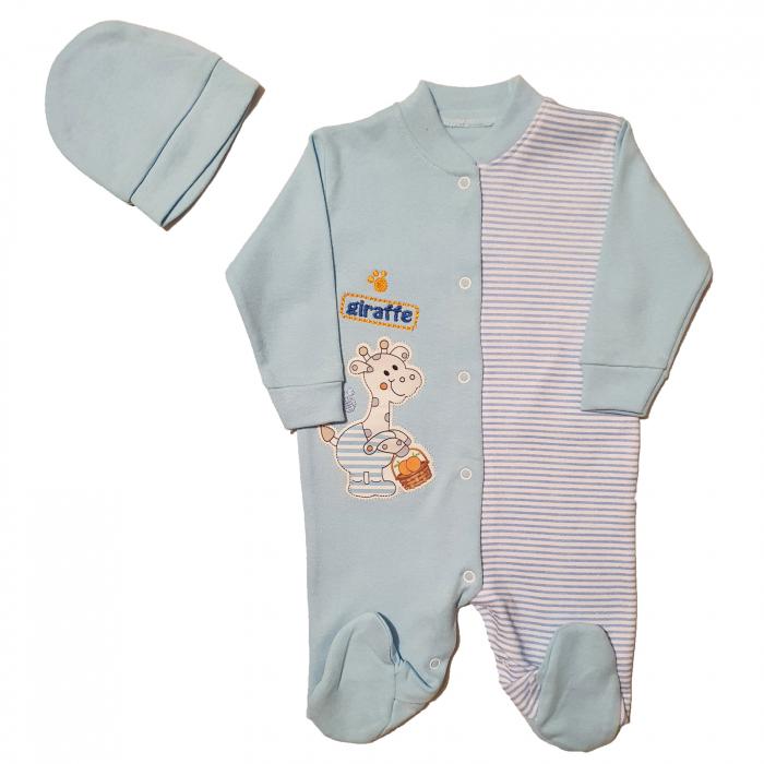 Salopeta bleu dungi si girafa si caciulita 3-6 luni 0