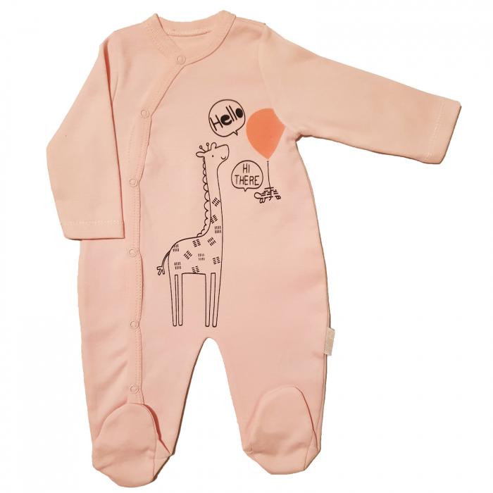 Salopeta maneca lunga roz cu girafa 0
